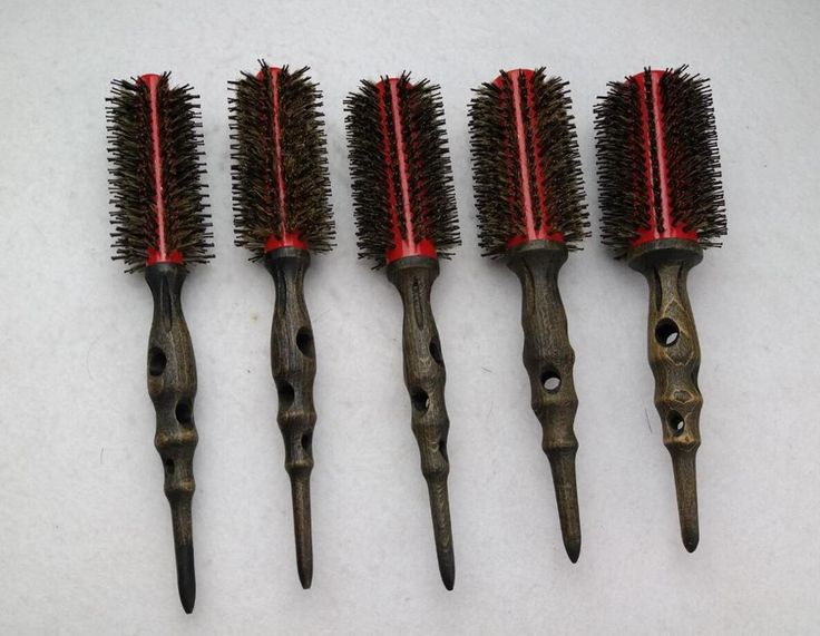 Wooden Hair Brush With Boar Bristle Mix Nylon Professional Round Hair Brush (5pcs/set)