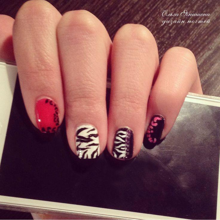 Животный принт #nail #nails #ногти #маникюр #рисунок #зебра #леопард #стразы #nailart #art #naildesign #design #nailstyle #style #zebra #leopard #panther