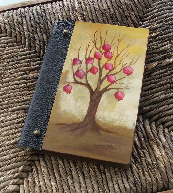 Notebook, Wooden Notebook, Custom Notebook, Journal Notebook, Writing Journal, Sketchbook, Custom Sketchbook, Pomegranate, Pomegranate Tree by allabouthandicraft on Etsy
