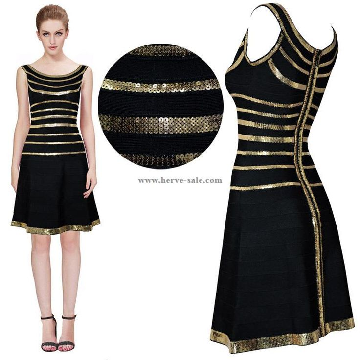 Herve Leger Black Golden Sequins Flared Bandage Dress HL733B