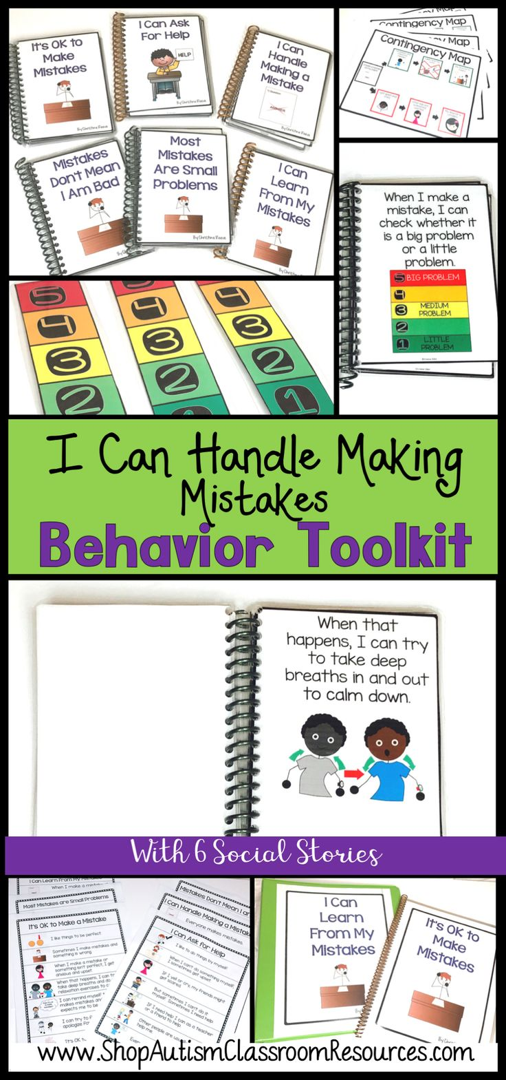 If you have a student (or 3) who has behavior problems when something is not perfect of he makes a mistake, this toolkit can help you.  It includes 6 social stories as well as tools like contingency maps and big problem/ small problem to teach perspective and ways of appropriately handling making a mistake.  Click the pin and check the preview for more details!