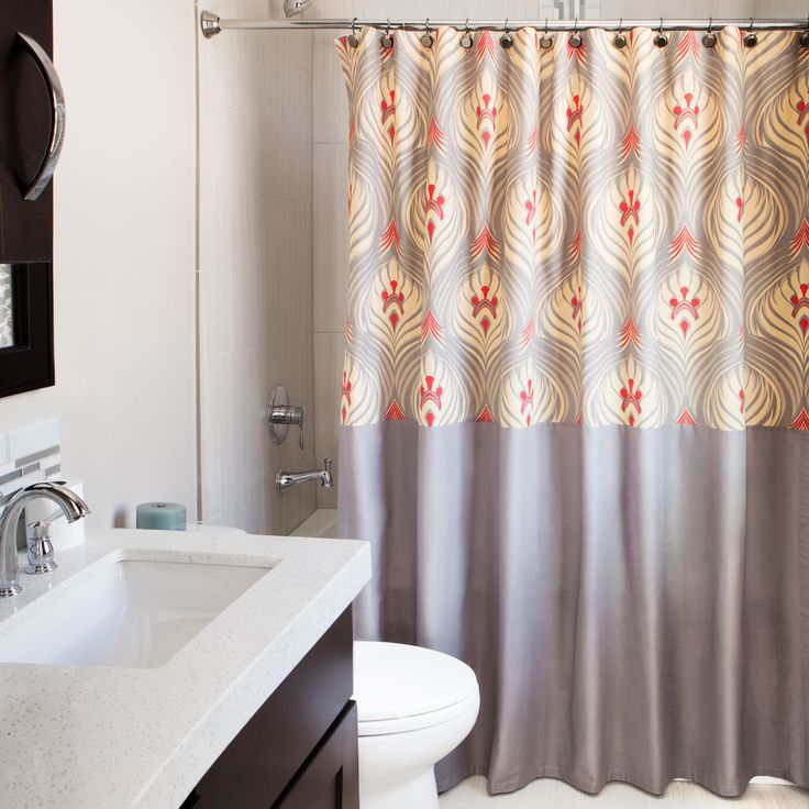 Andrew Charles Ogee Collection 72 Inch Grey Red Gold Shower Curtain By Andr
