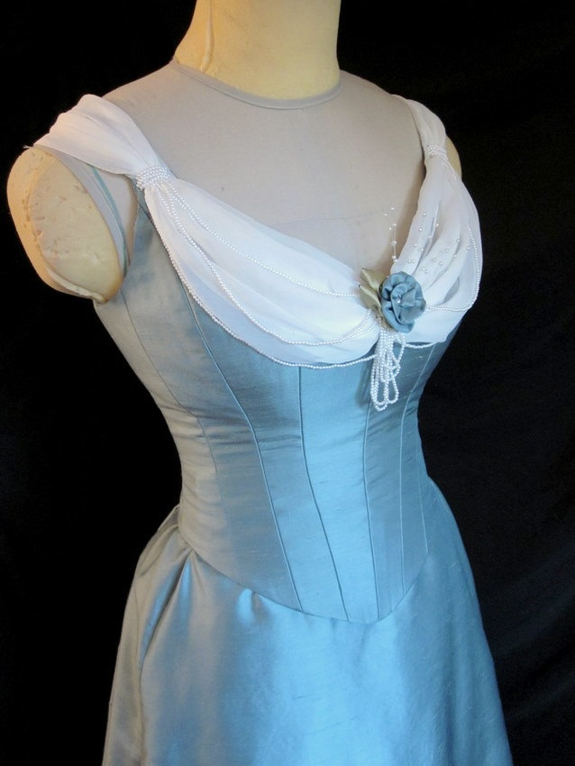 Victorian Evening Gown Blue Silk Historical Ballgown Small 1880s 1890s. $495.00, via Etsy.