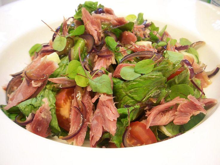 Ham hock, rocket, baby vine tomato and caramelised red onion salad at Milebrook House Hotel, Knighton
