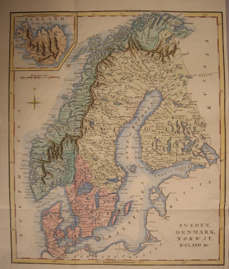 Copper plate of Sweden, Denmark, Norway and Iceland c1800.