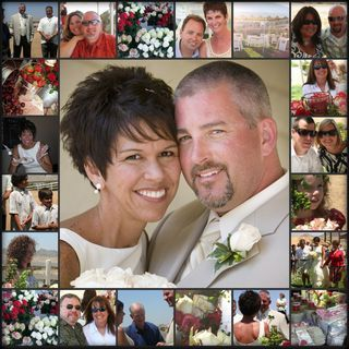 Scrap a wedding page quilt design with a center photo enlargement of the bridal couple with small rectangular border pics of their guests...dramatic and beautiful!