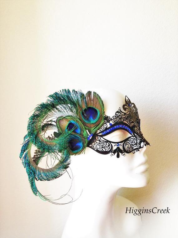Women Feathers Ball Painted Mardi Gras Masquerade Halloween Eye Mask