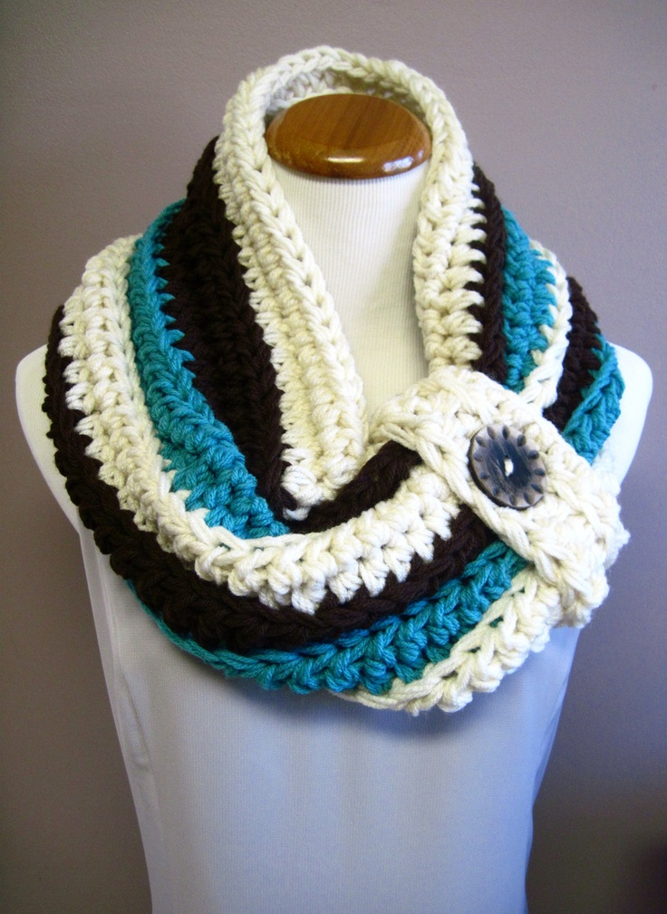 Chunky Bulky Button Crochet Cowl:  Off White, Chocolate Brown and Aqua Turquoise with Wood Button, via Etsy