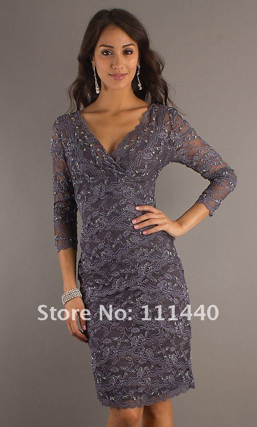 Aliexpress.com : Buy 2012 Black Lace Cocktail Dress Lace Sequins Sleeves V Neck Dress mixed group of support from Reliable lace long sleeve dress suppliers on  Dress World $139.00