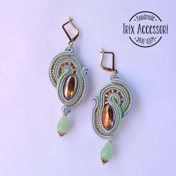 """Soutache Earrings """"Nora"""", Handmade Earrings, Hand Embroidered, Soutache Jewelry, Crystal, Gold, OOAK, Drops, Glass cabochon, Classic"""