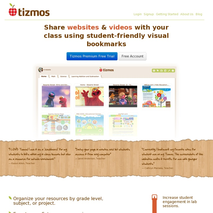 A personalized page for teachers that allows them to easily share online resources with students and other teachers.