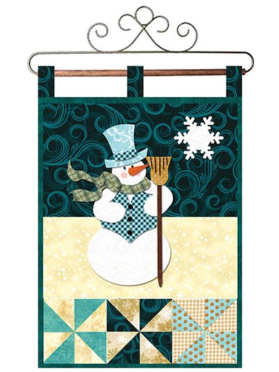 """This fabulous pattern, featuring a cute snowman and cool, vibrant colors, will help you celebrate the New Year in a whole new way! Finished size is 12 1/2"""" x 18""""."""
