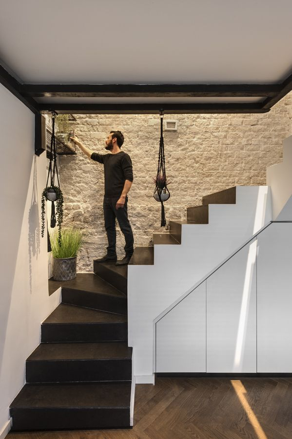 Small Apartment In Tel Aviv Split Into Two Multifunctional Floors | Stairs Side Wall Design | Modern | Stone | Pop | Wallpaper | Stair Pattern
