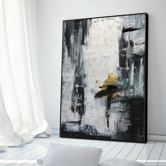 Gold Canvas Art Black White Painting Large Abstract Painting