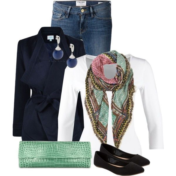 Clutch + Scarf by debpat on Polyvore featuring Repeat, Jovonna, Frame Denim, Old Navy and Jane Carr