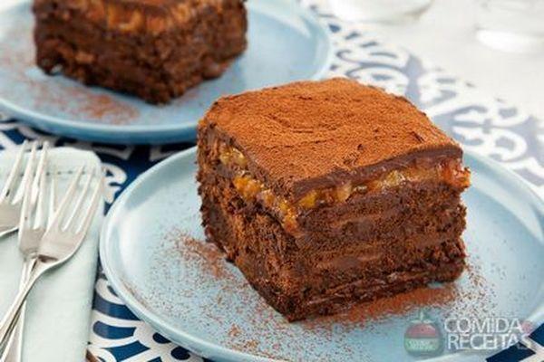 Receita de Pavê de chocolate amargo e damasco para micro-ondas - Comida e Receitas