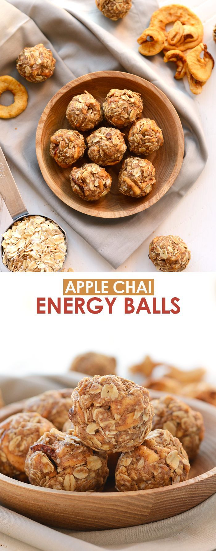 These Apple Chai Energy Balls are made with rolled oats, dried apples, chai spices, and an almond butter base for a healthy fall sweet treat!
