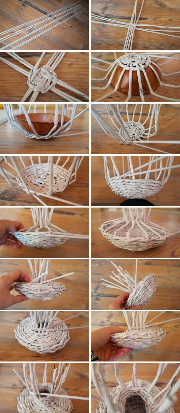 hrib pleteny z papiera pletenie 01