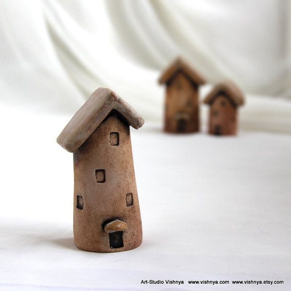 Rustic House of tiny fairies  Hand Made Ceramic by vishnya on Etsy, $20.00