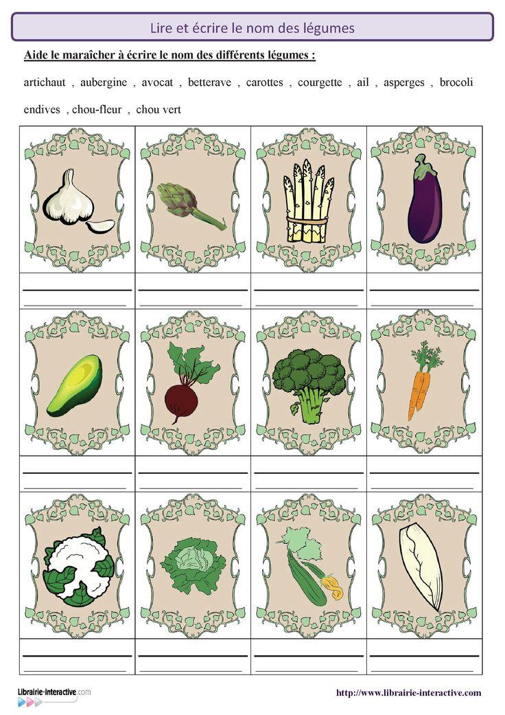 2 fiches pour découvrir et reconnaître les légumes puis apprendre à lire et à écrire leur nom.