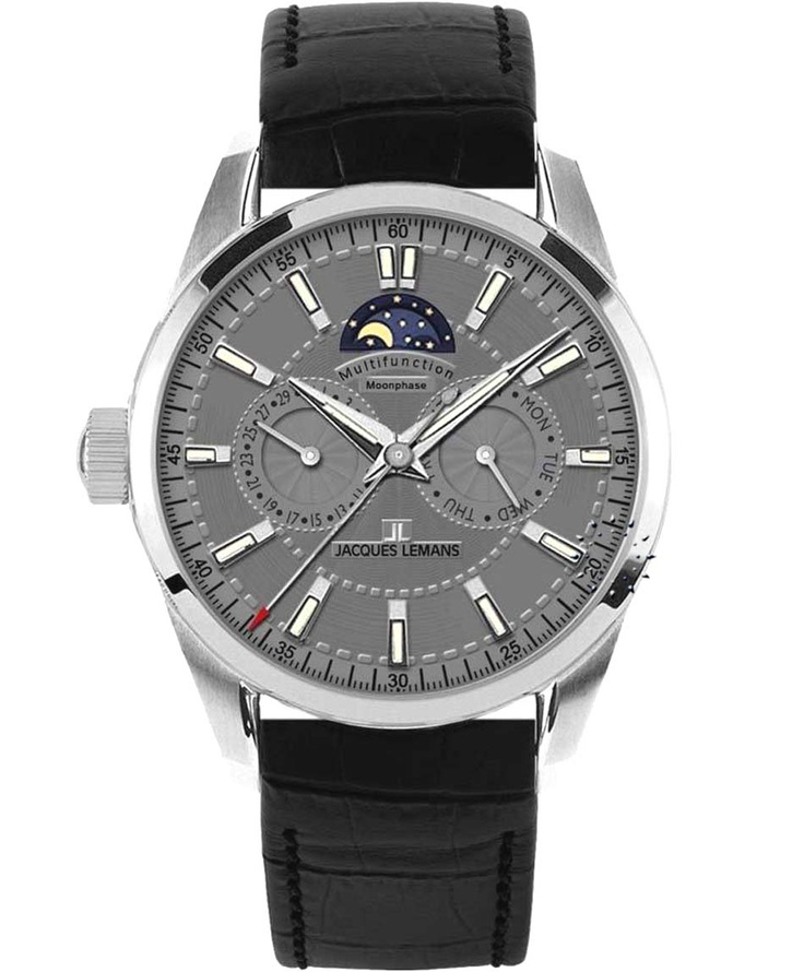 Jacques LEMANS Liverpool Moonphase Black Leather Strap Μοντέλο: 1-1596A Τιμή: 152€ http://www.oroloi.gr/product_info.php?products_id=31774