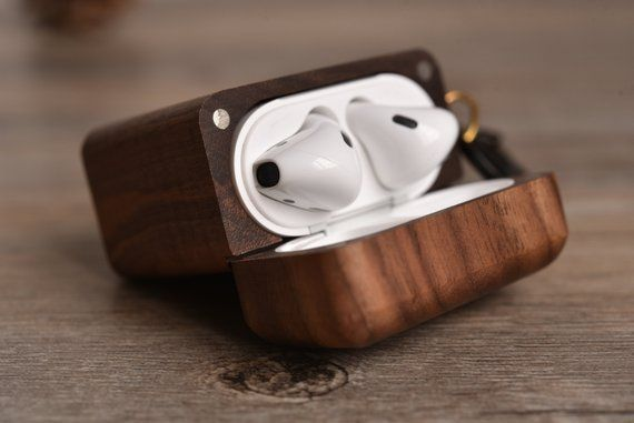 Wood Airpod Case Custom Airpods Case With Metal Hook Etsy Airpod Case Wood Case Metal Hooks