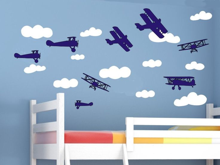 Airplane wall decals and cloud wall decal set air plane for Aeroplane wall mural