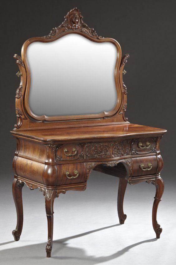American Rococo Revival Carved Mahogany Vanity, c. :