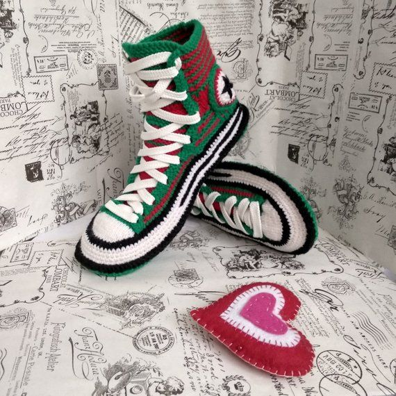 c839b4ab51638b House slippers 44 Knitted converse boots Men s house slippers Crochet converse  sneakers Valentine s