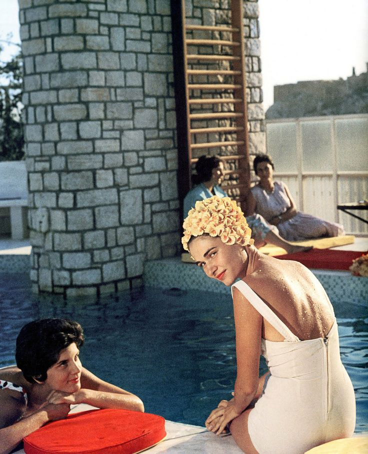 Young women by the Canellopoulos penthouse pool, Athens, July 1961.