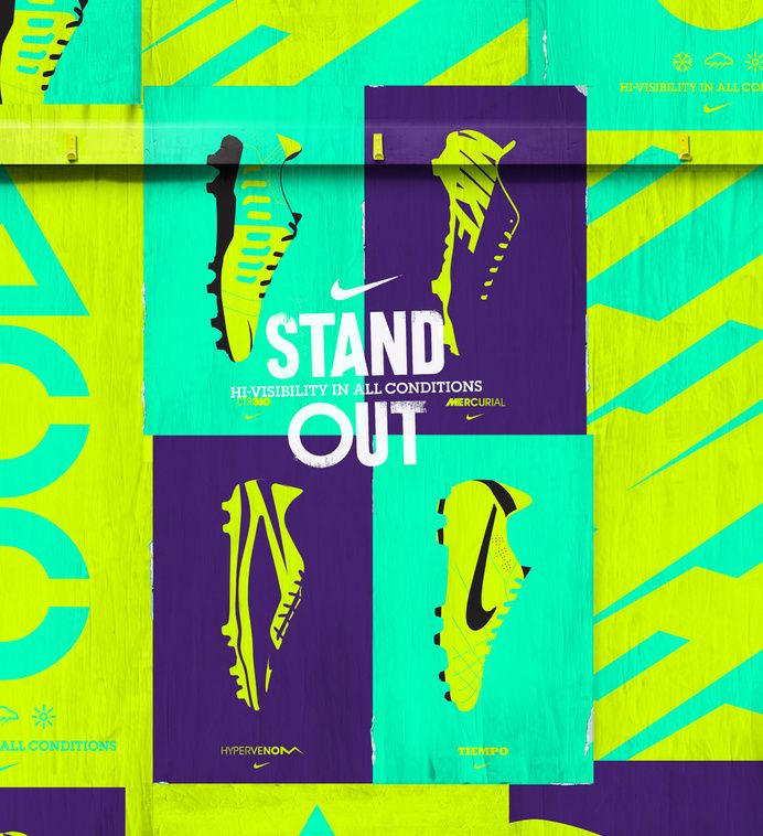 An example of a high-end brand using neon in a classy and effective way. The colours here really make the design of the boots pop, strengthening the brand's message of quality and style.