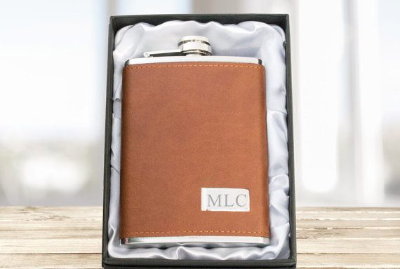 Personalized Engraved Brown Leather Hip Flask, Leather & Stainless Steel Party Gift, Wedding Gift, Groomsmen, Groom, Father, Corporate Gifts