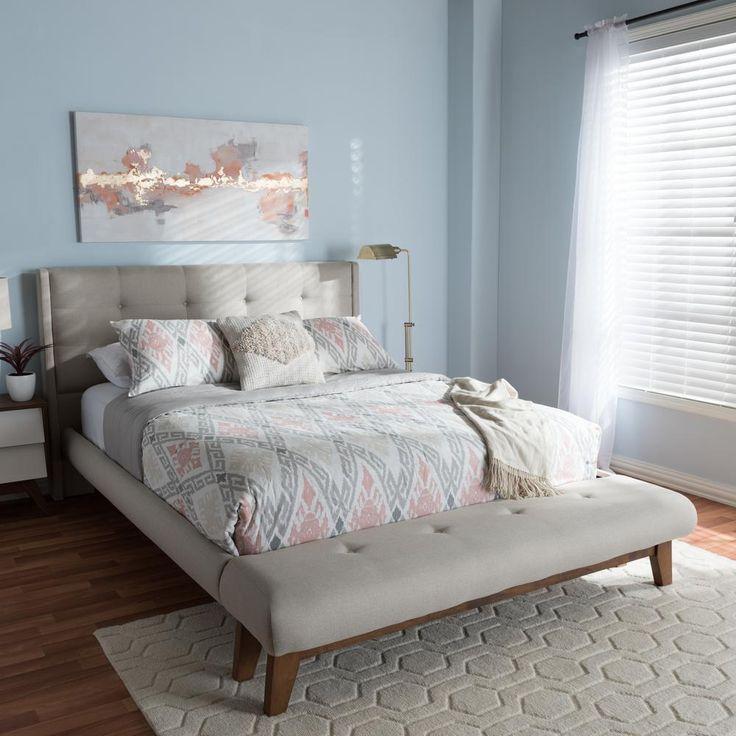 Best Baxton Studio Reena Beige Fabric Upholstered Queen 400 x 300