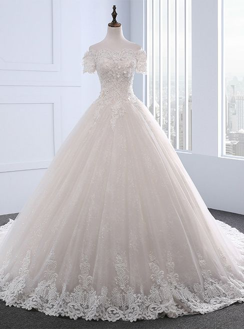 Adorable vintage wedding dresses short sleeve beaded boat neckline wedding dress