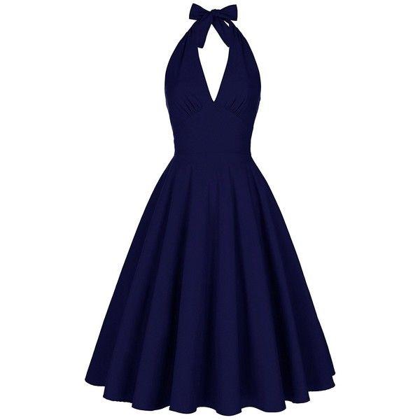 Halter Low Back Plunge Party Dress (£25) ❤ liked on Polyvore featuring dresses, vintage dresses, backless cocktail dresses, blue dress, blue skater dress and backless dresses
