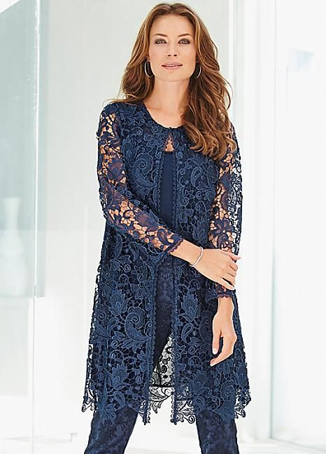 Longline Floral Lace Jacket - Add this chic longline lace jacket to your occasionwear wardrobe this season. Floral lace lends a timeless and feminine appeal to outwear and this design is a style icon. It is cut to a relaxed fit and features three-quarter sleeves and inner chiffon lining. A classic round neckline and concealed hook and eye fastenings, and finished with a pretty floral trim. #Fashion #Style #Kaleidoscope #Coats