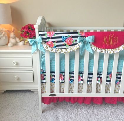 Watercolor Floral Stripe, Gold Dot, and Aqua Bumperless Crib Bedding