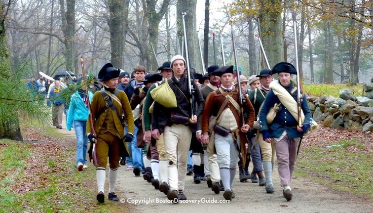 Colonial Reenactors march to Concord on Boston's Patriots' Day each April