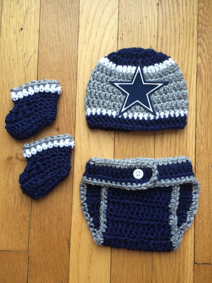 Crochet Newborn Dallas Cowboys Hat with matching diaper cover and optional booties, for baby boy or baby girl by Rx3CustomCrochet on Etsy https://www.etsy.com/listing/219448606/crochet-newborn-dallas-cowboys-hat-with