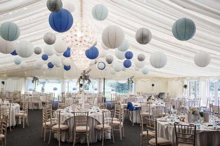 Blue, Ice, White and Silver paper lanterns make this frosty scene complete for any winter wedding!