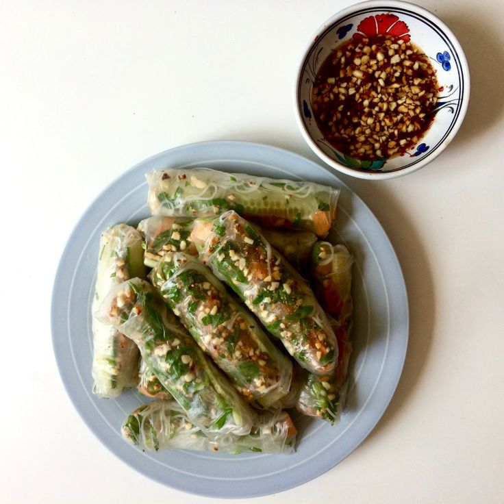 Fresh Vietnamese Spring Rolls  Packed full of fresh herbs like coriander and mint. Perfect for a Summers day.