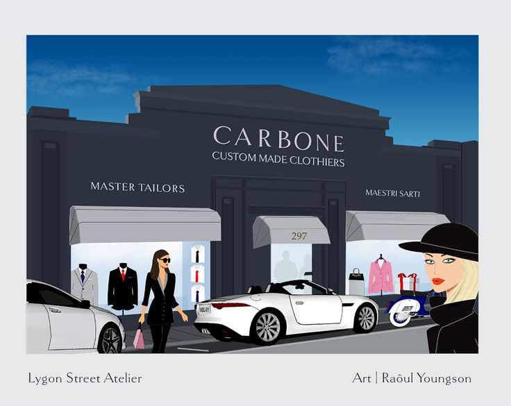 Created for my friends at Carbone Master Tailors #shop illustration #tailors #sartoria #shop fashion #atelier illustration #Lygon Street Illustration #Street Scene