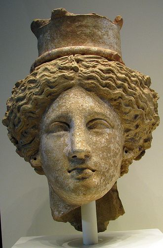 Head of Demeter or Kore | Greek, from Sicily 350-300 B.C. Terracotta Demeter is the goddess of agriculture and the mother of Kore, also known as Persephone, goddess of the Underworld. Their worship was widespread in Sicily, whose fertile fields supplied grain to the entirety of the Greek world, during this time.