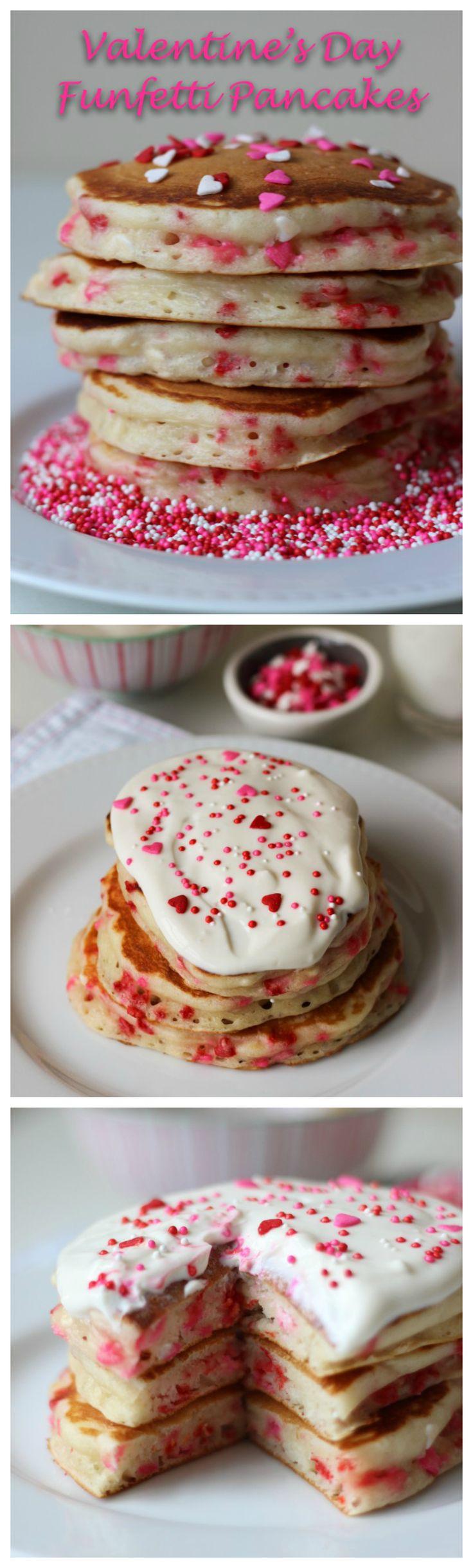 Valentine's Day Funfetti Pancakes with Vanilla Greek Yogurt Sauce | ChezCateyLou.com