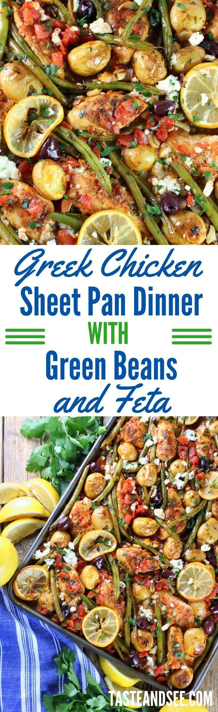 Greek Chicken Sheet Pan Dinner with Green Beans and Feta!  Mediterranean | Gluten-Free | Sheet-Pan | http://tasteandsee.com