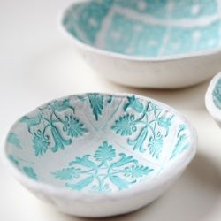 Make your own Stamped Clay Bowls using air dry clay.