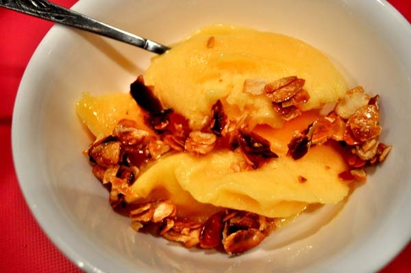 peach sorbet with salted candied almonds | foodie call | Pinterest