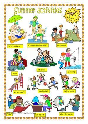 summer activities spring summer fall wintwer summer fun activities english vocabulary. Black Bedroom Furniture Sets. Home Design Ideas