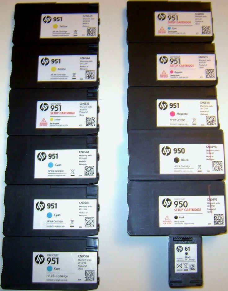 LOT OF 12 HP OfficeJet EMPTY INK CARTRIDGES-BLACK CYAN YELLOW MAGENTA 950/951/61 #HP