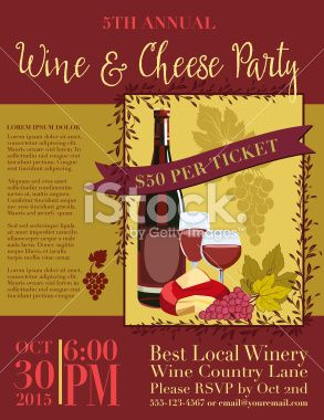 Best Wine And Vineyard Illustrations Images On Pinterest - Wine and cheese party invitation template free